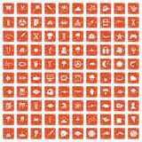 100 research icons set grunge orange. 100 research icons set in grunge style orange color isolated on white background vector illustration Stock Photos