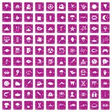 100 research icons set grunge pink. 100 research icons set in grunge style pink color isolated on white background vector illustration Royalty Free Stock Image