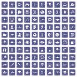 100 research icons set grunge sapphire. 100 research icons set in grunge style sapphire color isolated on white background vector illustration Royalty Free Stock Photo