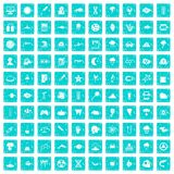 100 research icons set grunge blue Stock Photo