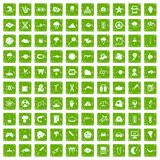 100 research icons set grunge green. 100 research icons set in grunge style green color isolated on white background vector illustration Royalty Free Stock Photography