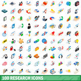 100 research icons set, isometric 3d style Stock Photography