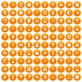 100 research icons set orange. 100 research icons set in orange circle isolated on white vector illustration stock illustration