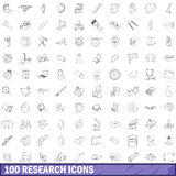 100 research icons set, outline style. 100 research icons set in outline style for any design vector illustration Royalty Free Stock Images