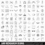 1000 research icons set, outline style. 100 research icons set in outline style for any design vector illustration Stock Image