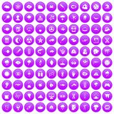 100 research icons set purple. 100 research icons set in purple circle isolated on white vector illustration royalty free illustration