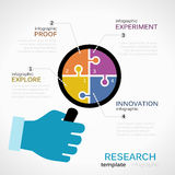 Research infographics. Research infographic template with businessman hand holding eyeglass Stock Photos