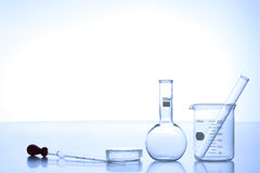 Research laboratory glassware Stock Images