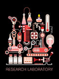 Research Laboratory. Graphic design with text Research Laboratory. Isolated vector composition on black background Stock Images