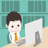 Research in library. Vector cartoon business vector illustration