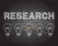Research Light Bulbs Blackboard Royalty Free Stock Photos