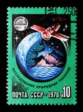 Research of natural resources, International Space Cooperation s. MOSCOW, RUSSIA - MARCH 31, 2018: A stamp printed in USSR (Russia) shows Research of natural royalty free stock image