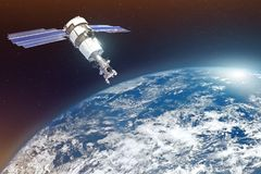 Research, probing, monitoring of in atmosphere. Satellite above the Earth makes measurements of the weather parameters. Elements o. F this image furnished by stock photos