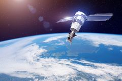 Research, probing, monitoring of in atmosphere. Satellite for monitoring the weather in the polar orbit above the Earth. Elements stock images