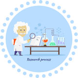 Research Process Icon Flat Design. Research process icon flat isolated. Discovery and reaction, chemistry science, processing development, search data and Royalty Free Stock Photography