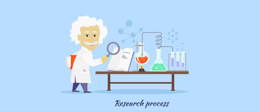 Research Process Icon Flat Design Stock Images