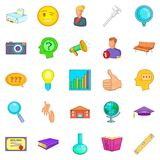 Research project icons set, cartoon style Royalty Free Stock Images