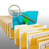 Research result,folder icon with magnifying glass. 3d rendering Royalty Free Stock Photography
