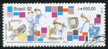 Research. RUSSIA KALININGRAD, 26 JULY 2014: stamp printed by Brazil, shows  research, circa 1992 Stock Photography