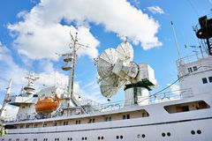 Research ship with antenna and radar Royalty Free Stock Images