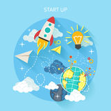 Research start up rocket Royalty Free Stock Photography