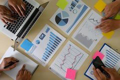 Research stock market chart paper for analysis Brainstorm Meeting research. W stock photo