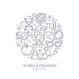Research, technologies and innovation symbols. Science backgroun Royalty Free Stock Photography
