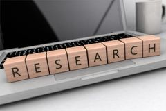 Research text concept. Lettered wooden cubes on notebook computer- 3D render illustration Stock Photos