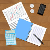 Research and verification of statistical data. Paperwork with index statistic, analyzing and management, financial monitoring vector illustration Royalty Free Stock Photo