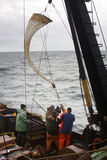 Research vessel. Oceanography and Hydrobiology 2. Lowering plankton net (Juday net) sh Stock Photography