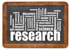 Research word cloud on blackboard Stock Photos