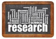 Research word cloud on blackboard Stock Photos