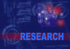 RESEARCH. Word RESEARCH  writing on red lines end sci-fi background Royalty Free Stock Photos