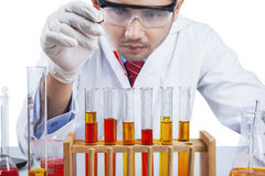 Research worker pouring chemical liquid. Close up of research worker uses a dropper to pour chemical liquid into test tube Royalty Free Stock Images