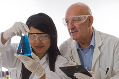 Researche team holding flask with chemicals royalty free stock photo