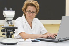 Researcher. Female researcher analyzing data on a laptop in a laboratory Stock Photo