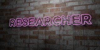RESEARCHER - Glowing Neon Sign on stonework wall - 3D rendered royalty free stock illustration. Can be used for online banner ads and direct mailers Stock Photos