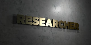 Researcher - Gold text on black background - 3D rendered royalty free stock picture. This image can be used for an online website banner ad or a print postcard Stock Image