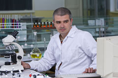 Researcher at his workplace Stock Photography