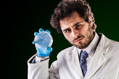 Researcher holding an empty petri dish Stock Image