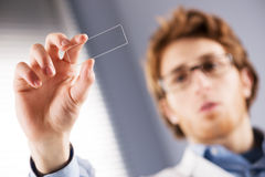 Researcher holding microscope slide Royalty Free Stock Photos