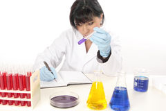 Researcher in laboratory conducting tests Stock Image