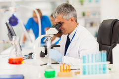 Researcher looking microscope Stock Images