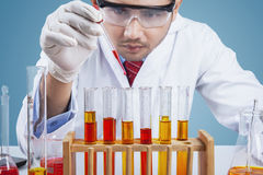 Researcher makes chemical reaction. Close up of male researcher pouring chemical liquid into test tube to make chemical reaction Stock Image