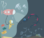 Researcher meets an alien monster. Under the sea monster and researcher meet Stock Photography