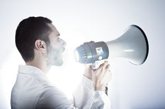 Researcher and megaphone Stock Photos