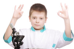 Researcher raising hands in okay gesture Royalty Free Stock Image
