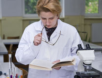 Researcher reading Royalty Free Stock Photography