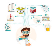 Researcher of the research laboratory with the reagents in his hands. Vector. Illustration Royalty Free Stock Photos