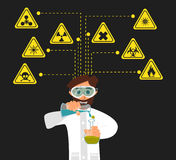 Researcher of the research laboratory with the reagents in his hands. Vector. Illustration Stock Photography
